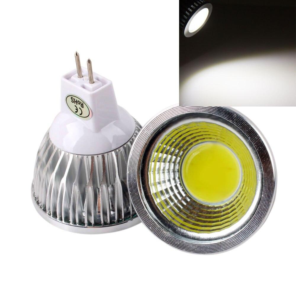 COB 3W 6W 9W 12W lámpara de focos Led 120 ángulo regulable bombillas Led cálido/blanco frío MR16 12V bombilla GU5.3 220V 5 unids/lote