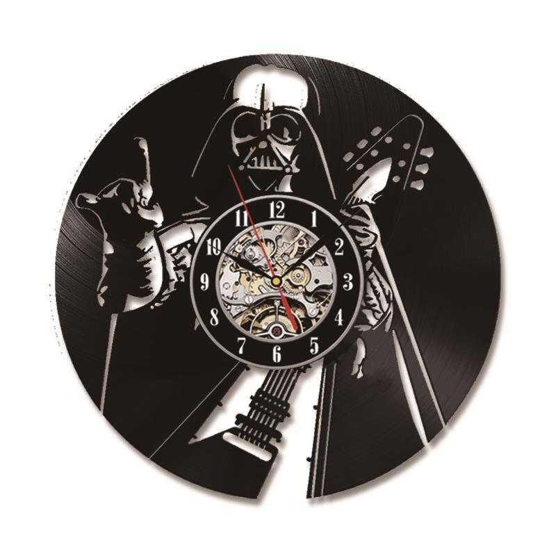 Black Hollow CD Record Clock The Star Wars Theme Antique Style Vinyl Wall Clock Creative Silent Hanging Clock