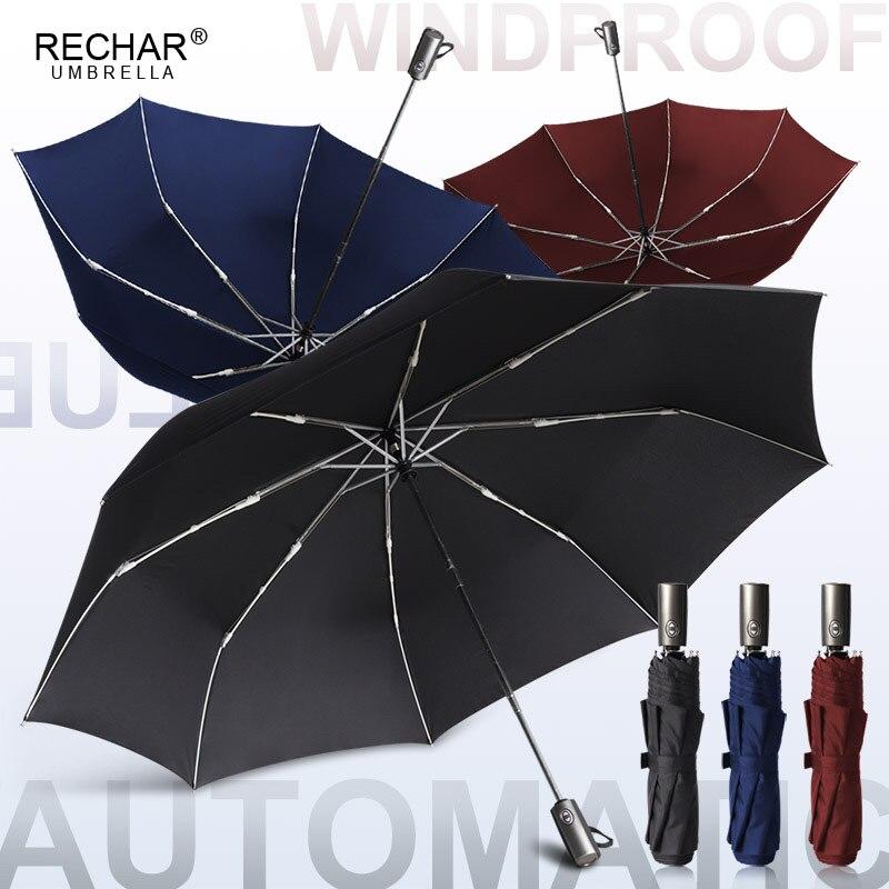Paraguas grande automático mejorado de 120cm para lluvia para hombres y mujeres, paraguas plegable de aluminio para exteriores con 3 pliegues para negocios, Parasol familiar