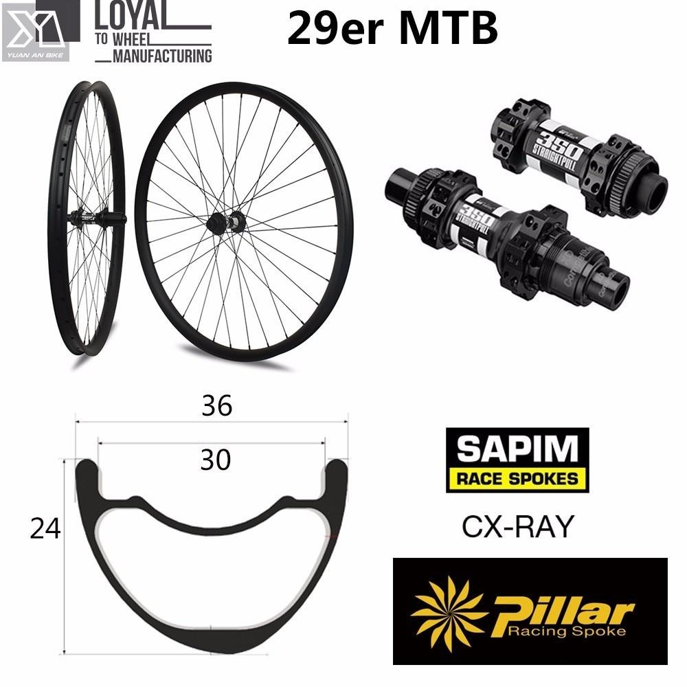 Juego de neumáticos para bicicleta de montaña, asimétrico, sin agujeros, de carbono 29er XC/AM 36mm de ancho 24mm de profundidad con eje MTB DT350S