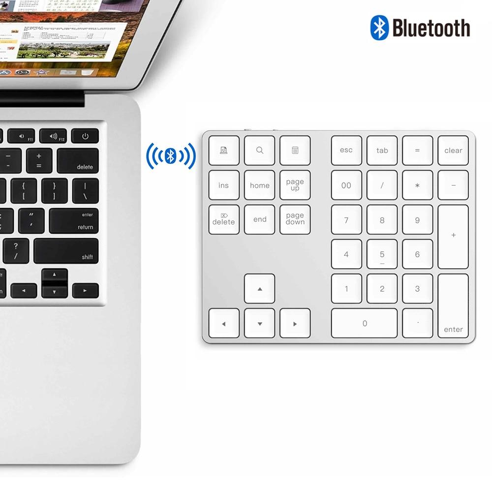 34 teclas sem fio bluetooth mini teclado numérico para apple android para macbook pc desktop portátil liga de alumínio digital