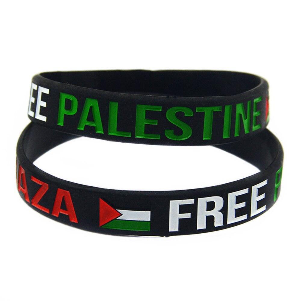 Obh 1 pc salvar gaza palestina livre com bandeira pulseira de borracha de silicone