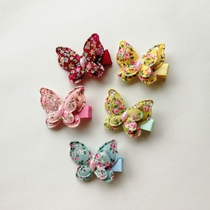 2pcs/lot Colorful Simulate Butterfly Double Layers Hairpins Kid Floral Cloth Clip Cute Girls Hair Multi Layers Hair Girls Clips