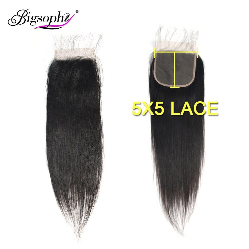 5x5 fechamento do laço em linha reta cabelo malaio 100% fechamento do cabelo humano com cabelo do bebê 8-20 polegada cabelo humano remy cor natural bigsophy
