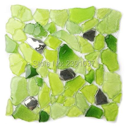 Folha de Telhas da Cozinha Mediterrâneo Estilo Glass Mosaic Tiles 1 Caixa 22 Folhas Iridescente Banheiro Porcelana Backsplash Art Deco Sea