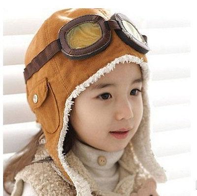 Invierno bebé niño niña niños piloto aviador sombrero cálido Beanie marrón/negro