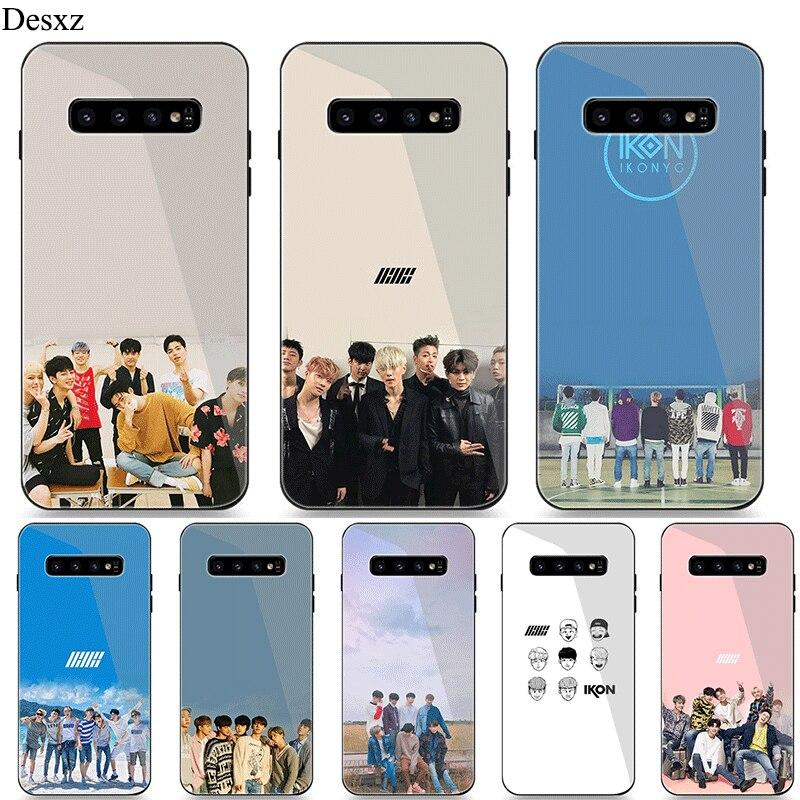 Caja del teléfono de cristal para Samsung A40 A50 A10 A20 A30 A60 A70 S10 S7 borde S8 S9 Plus Nota 8 9 cubierta de IKON