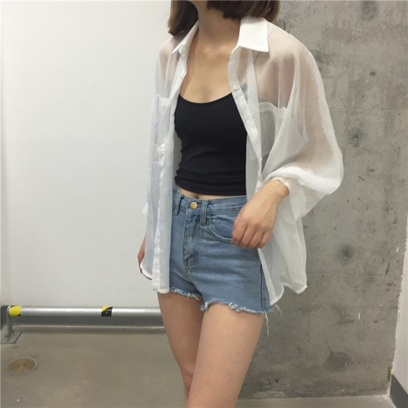 Summer White Women Shirt Cotton Linen Button Blue Floral Turn-down Collar Transparent Loose Blouse