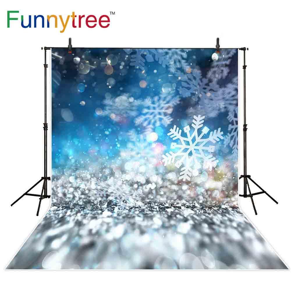 Funnytree backdrop for photographic studio Christmas bokeh snowflake halo winter glitter professional background photocall