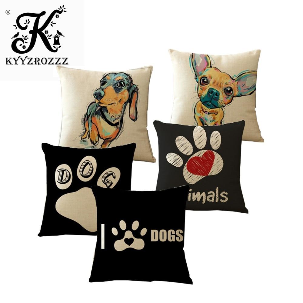 Декоративный чехол для подушки с изображением мопса, поп-собаки, Цветные подушки, французский бульдог, Акварельный узор, хлопковая льняная ...