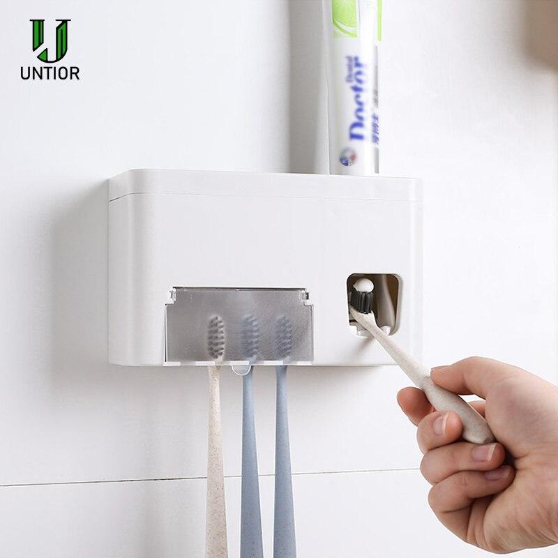 UNTIOR soporte para cepillo de dientes de plástico dispensador automático de pasta de dientes titular del cepillo de dientes montaje en la pared Rack Set de accesorios de baño