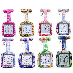 Relógio de silicone enfermeira, relógios de enfermeira, mostrador quadrado, relógio de enfermeira, broche de médico, relógios pendurados tt @ 88