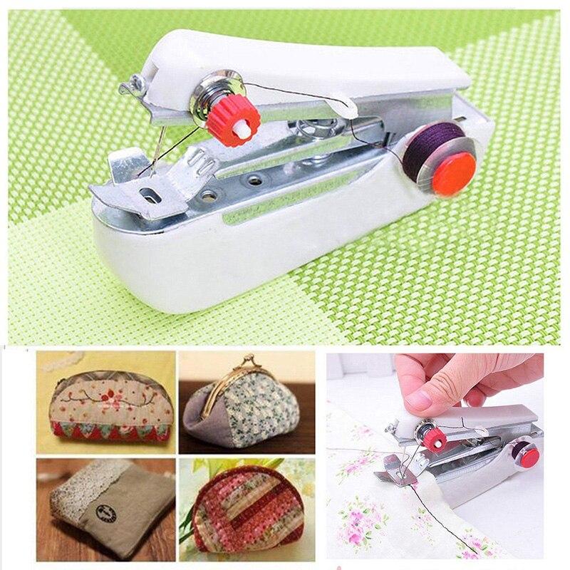 Mini máquina de coser doméstica de punto de ganchillo guía prensas borde unir utensilios para manualidades Handhold máquina para el hogar DIY Accesorios