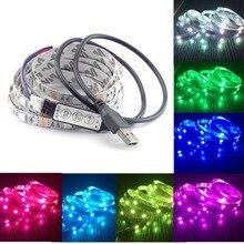 Cc 5V USB câble LED bande lumière led bande 5050 noël Flexible led rayure TV fond lumière RGB 3 clés Mini à distance 50CM 1M 2M