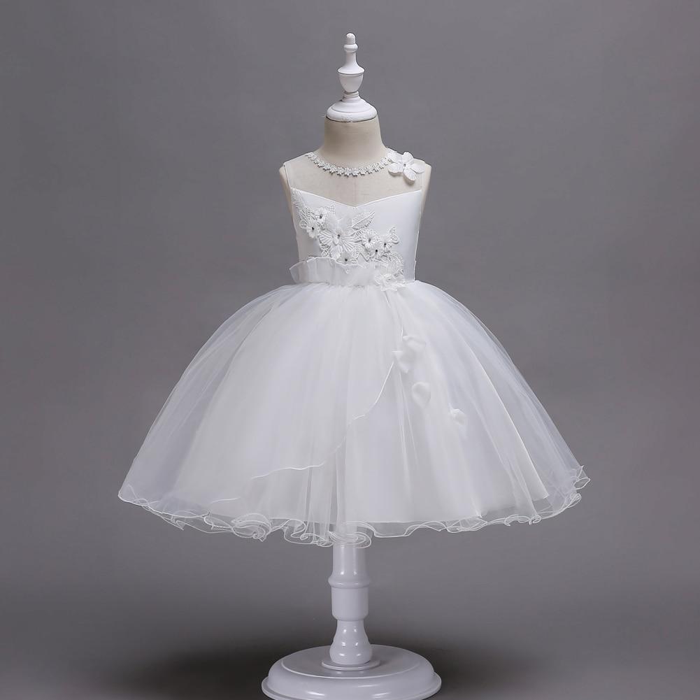 Caileni crianças cerimônia vestido de princesa renda branca malha vestido para 3-14 anos festa de casamento vestido de baile crianças vestidos para meninas