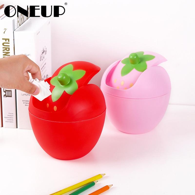 Papeleras ONEUP Cute Strawberry Mini Papelera para escritorio tipo mecedora Cubo de almacenamiento cubo de basura de coche puede soporte de papelera