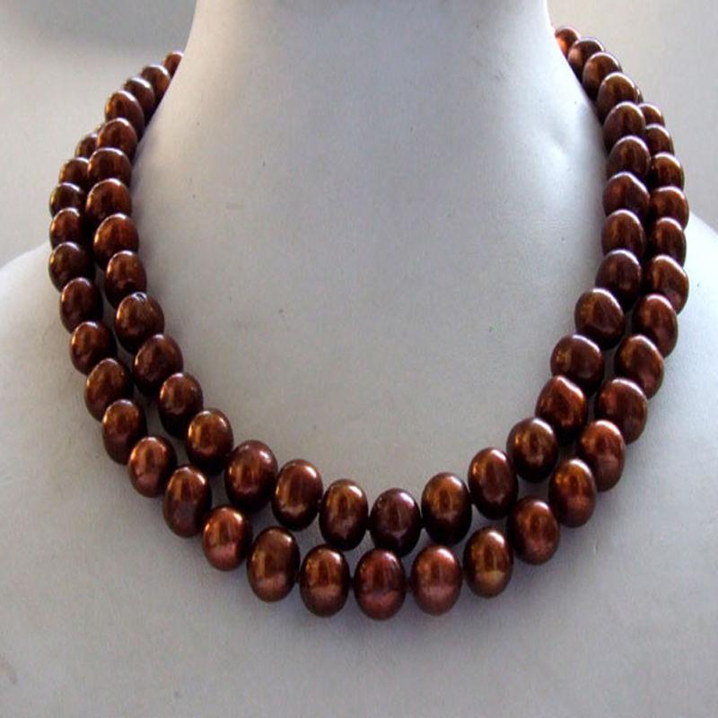 Очаровательное 2 ряда 10-11 мм Южное шоколадное Жемчужное ожерелье 17-18 дюймов