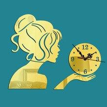 Free Shipping Beauty Profile Wall Sticker Clock Girl Silhouette DIY Clocks  Mirror Surface Home Decor Feminity Quartz Mute 13