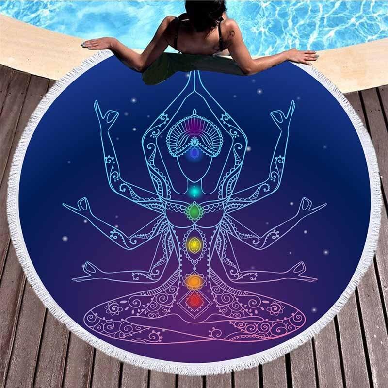 Lannidaa Mandala Chakra Toalla de playa redonda de microfibra deporte Mandala toallas de baño impreso playa tapiz Yoga alfombra de Picnic Manta
