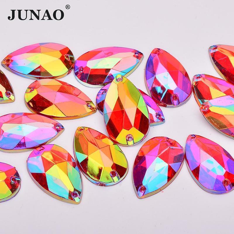 JUNAO 17*28mm Sewing Red AB Teardops Rhinestone Applique Large Crystal Stones Sew Strass Crystal Flatback Acrylic Gems Crafts