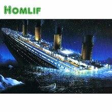 HOMLIF Diamante ricamo Titanic 5d pittura diamante bricolage Punto Croce   Strass pieno trapano piazza decorazione a mosaico