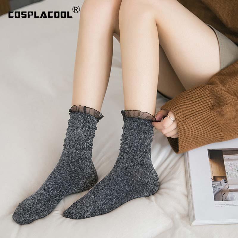 [COSPLACOOL] calcetines de encaje de seda transparente diseño borde brillante oro plata Sexy Sokken montón de calcetines Harajuku princesa calcetines mujeres