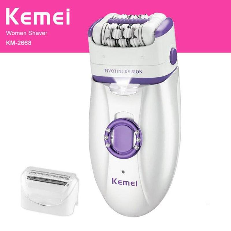 Женский эпилятор Kemei KM-2666, перезаряжаемый электрический эпилятор, устройство для удаления мозолей 220-240 в, полный триммер для тела, инструмен...