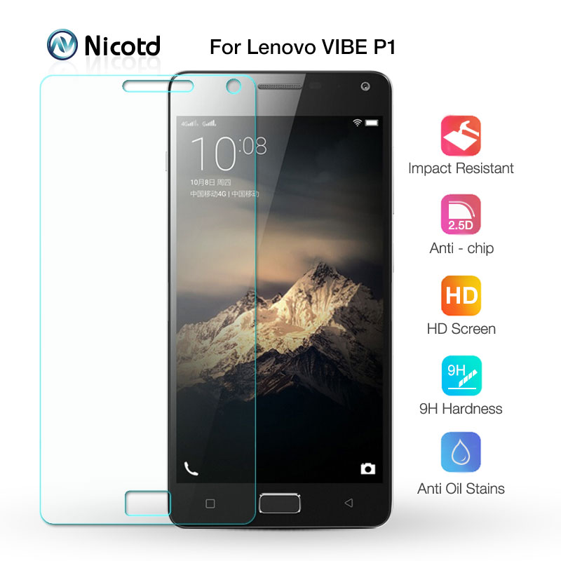 Nicotd 9H a prueba de explosión de protector de pantalla de vidrio templado película protectora para Lenovo VIBE P1 P 1 P1a42 P1c72 P1c58 Dual Sim Lte