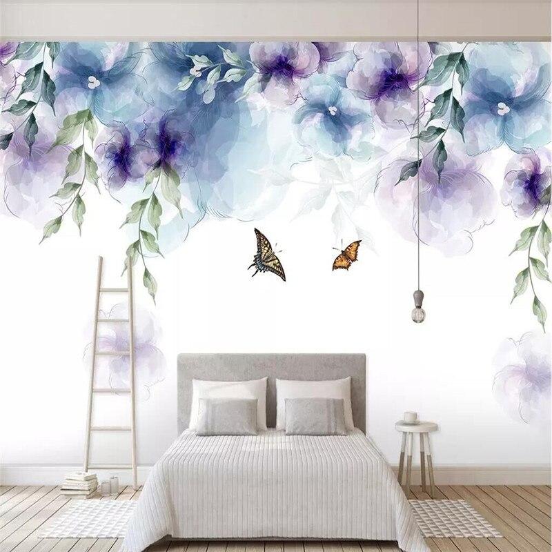 بسيطة رسمت باليد الرجعية المائية زهرة التلفزيون حائط الخلفية القماش المصنعين الجملة خلفيات جدارية الصورة جدار