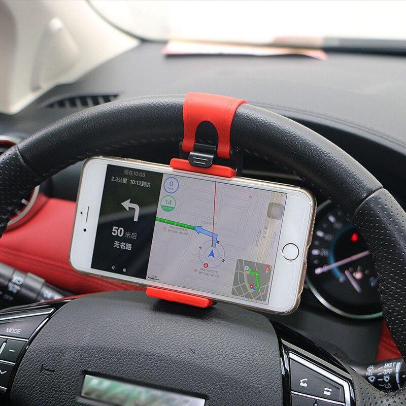 Car Phone Holder Stand Steering Wheel Clip Mount For Ford Focus 1 Fiesta Mondeo 4 3 Transit Fusion Kuga Ranger Mustang KA S-max