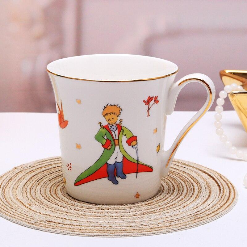 Le petit prince  Bone China Coffee Mug With Hand-painted Gold Handle Cartoon White Porcelain Teacup Gift Box Free Shipping