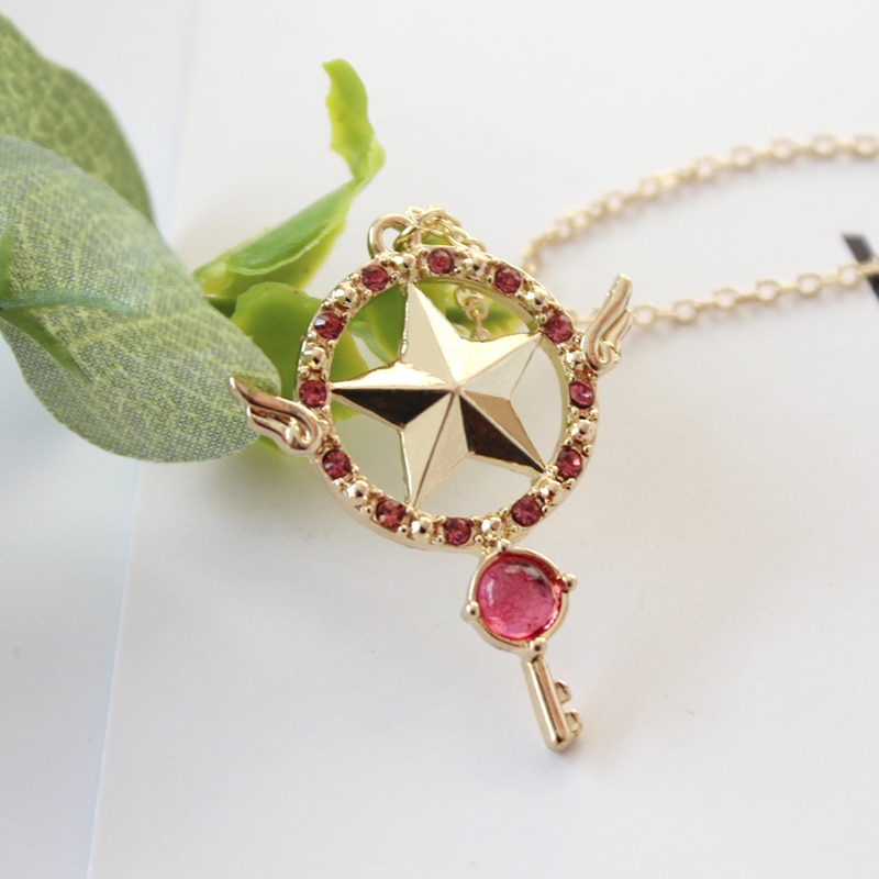 Anime Card Captor Sakura Die Clow Magie Sterne Zauberstab Metall Kristall Cosplay Anhänger Halskette
