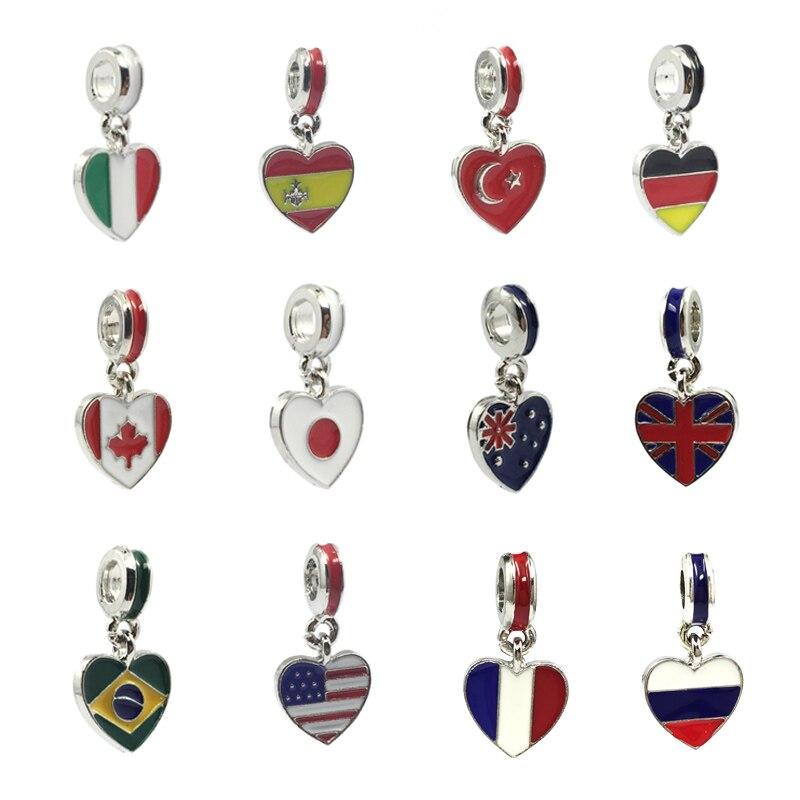 1 pçs turquia itália espanha eua canadá reino unido brasil bandeira coração pingente encantos contas europeias caber pandora encantos pulseiras jóias diy