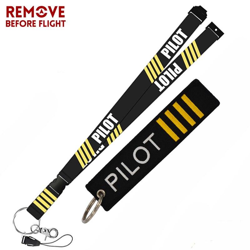Remove Before Flight aviación regalos llavero Turbo llavero cuello redondo Correa piloto Lanyard llavero Anti llavero estático