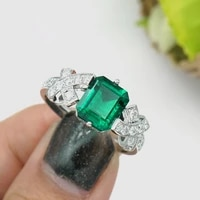 aaa 1 5ct solid 14k white gold colombia moissanite green emerald ring engagement ring jewelry for women