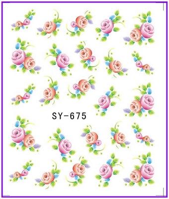 6 pack/lote brillo agua calcomanía adhesiva para uñas de aciano noche BLOOMING CEREUS SY675-680