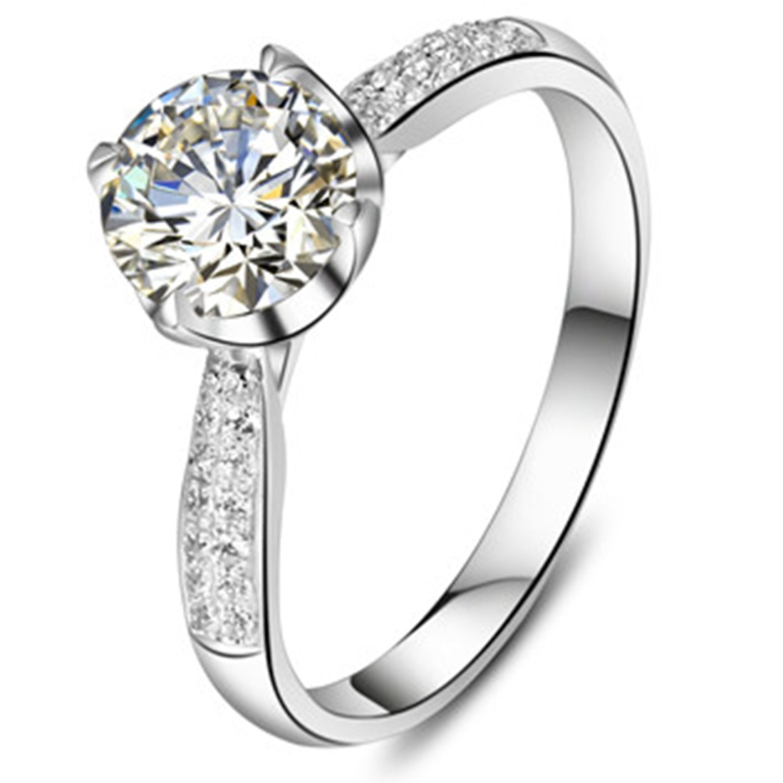 Anillo de diamante moissanita auténtico de oro blanco de 18 quilates, joyería positiva de compromiso para mujer, anillo de compromiso, anillo asequible de 18K con caja