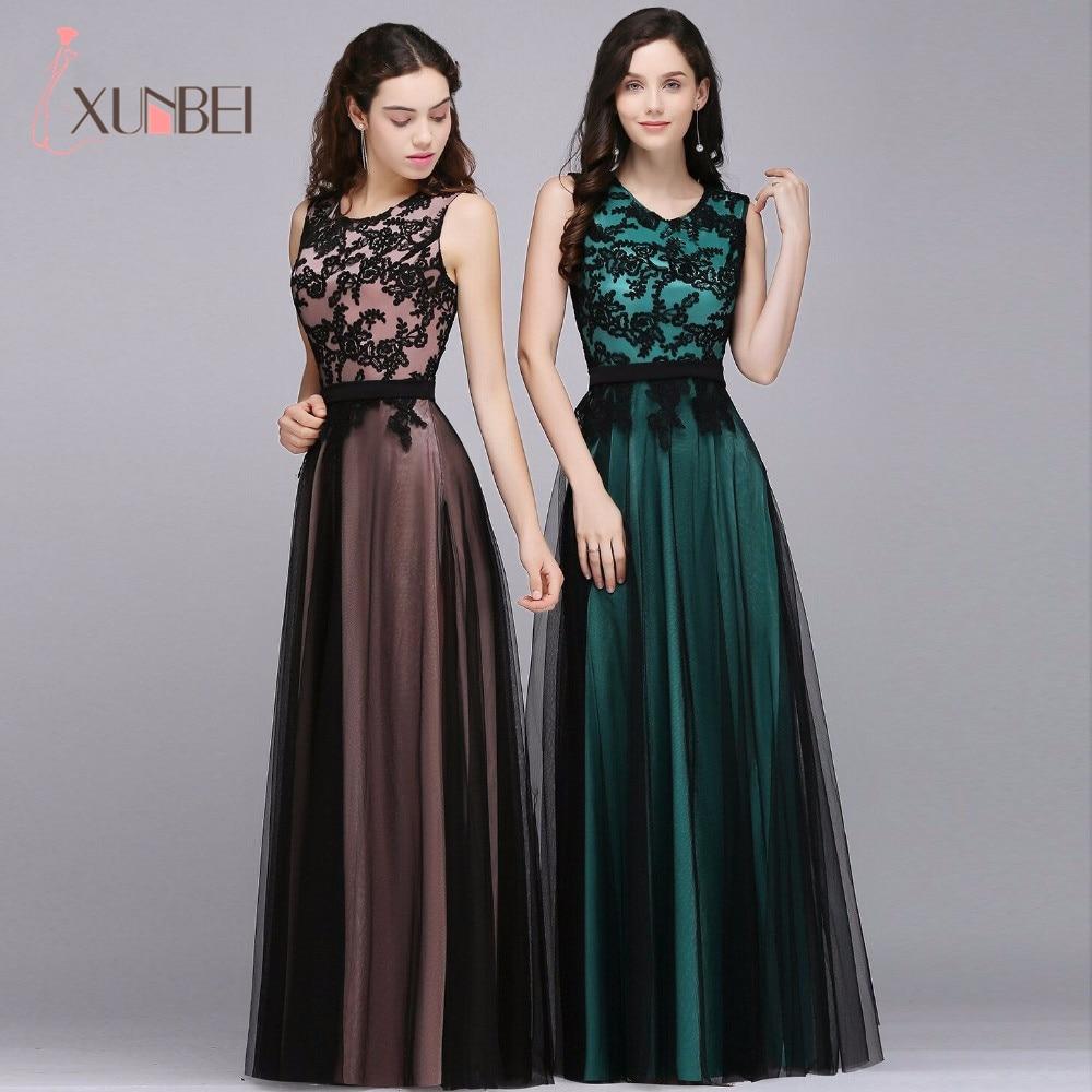 Elegant Crew Neck Lace Long Evening Gowns Tulle Applique Sash A Line Formal Party Prom Dresses Evening Gowns vestido de festa недорого