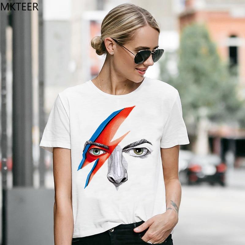 Women's T-shirt David Bowie Summer Harajuku T-shirt White Print Funny T-Shirt Women's Loose Rock Street Wind T-Shirt Tops Women