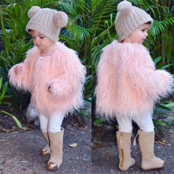 Ropa de invierno 2019 para niñas, ropa de piel sintética sólida, chaquetas de pelo rosa para niñas pequeñas, abrigo de piel a la moda, estilo corto negro