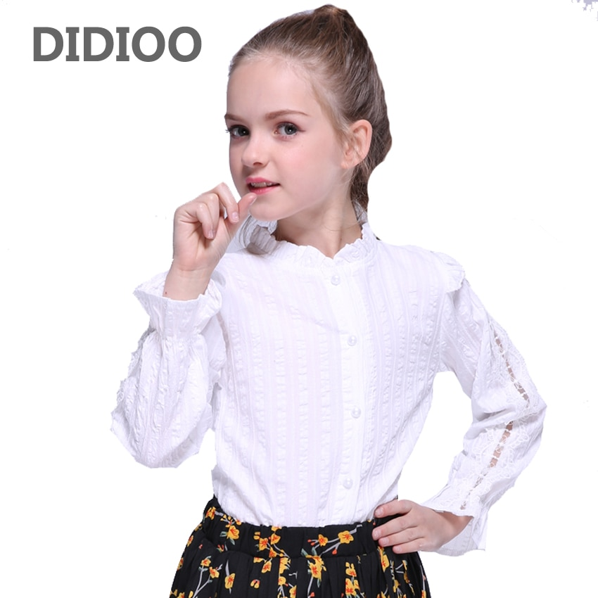 Blusas para niños, camisas de encaje para bebés, Tops lisos para niñas, camisas de manga larga de uniforme escolar blanca, 2 4 10 12 años, blusas con volantes para niñas