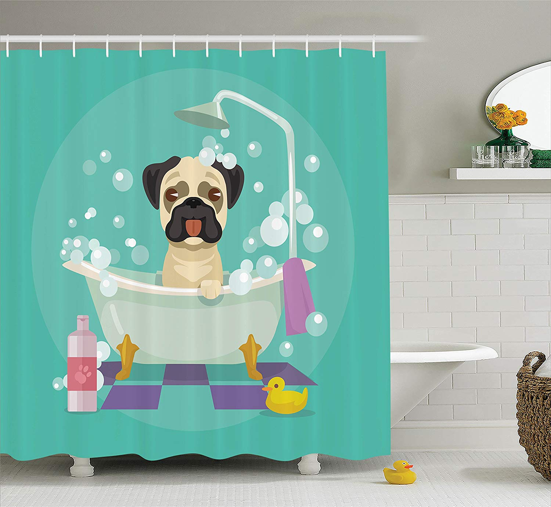 Perro Pug en la bañera aseo perrito cachorro ducha cortina salón servicio champú goma pato mascotas imagen de dibujo Cortina de ducha
