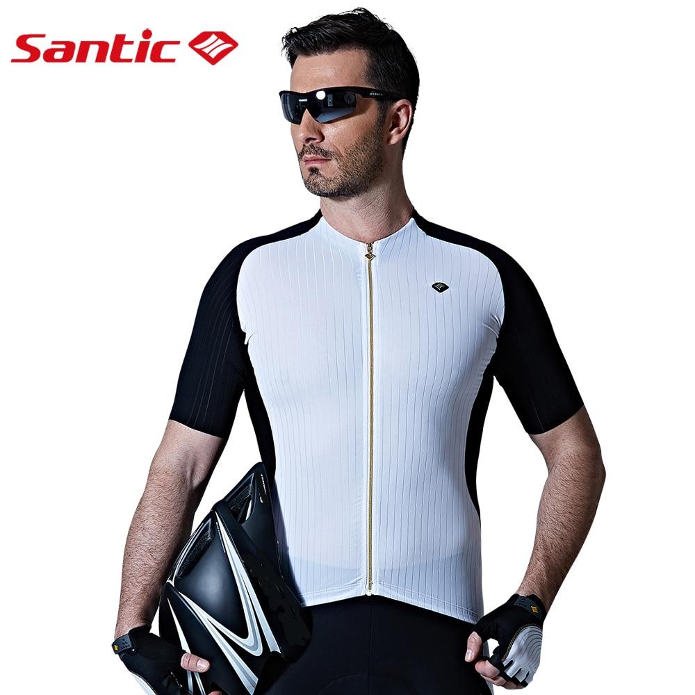 Santic Men Cycling Jersey Extreme Fit Pro Team Racing Road Bike Short Sleeve Cycling MTB Jersey Seamless Cuff  Anti-slip Hem