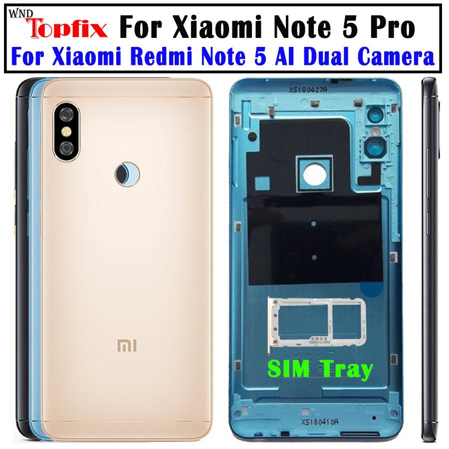 NEW Original Housing For Xiaomi Redmi Note 5 Pro Battery Cover Replacement Parts Case With Lens Butt