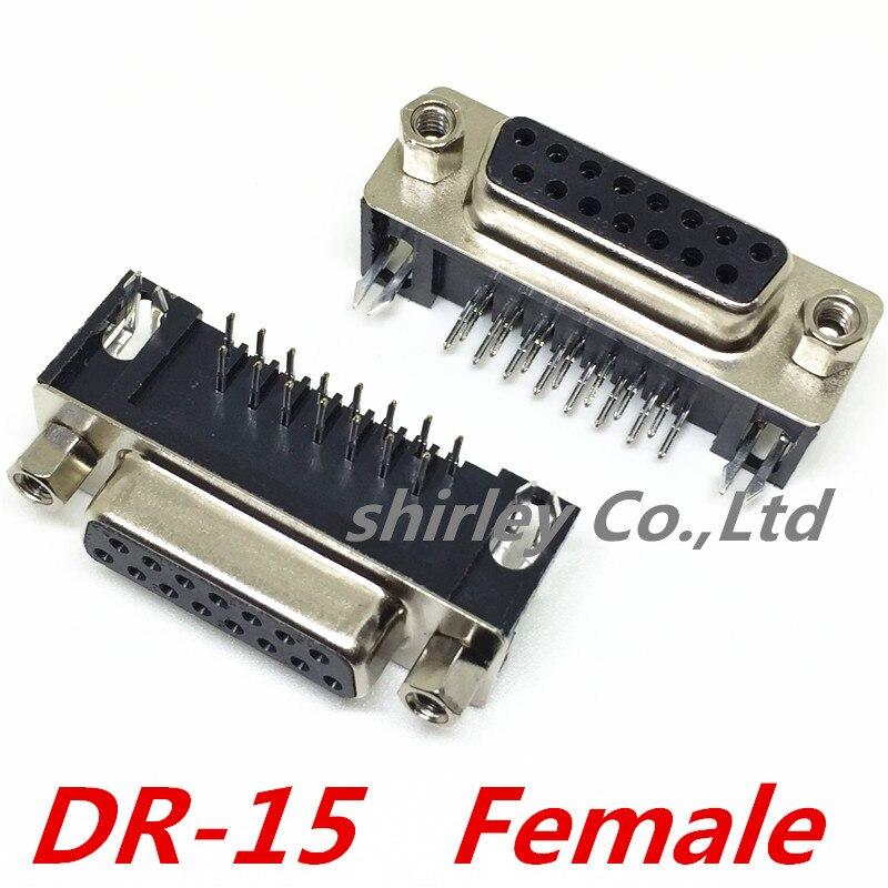 شحن مجاني لمنفذ تسلسلي DR15 ، قابس/موصل أنثى ، 15 دبوس ، نحاسي ، DR-15 ، VGA ، 90 درجة ، 50 قطعة