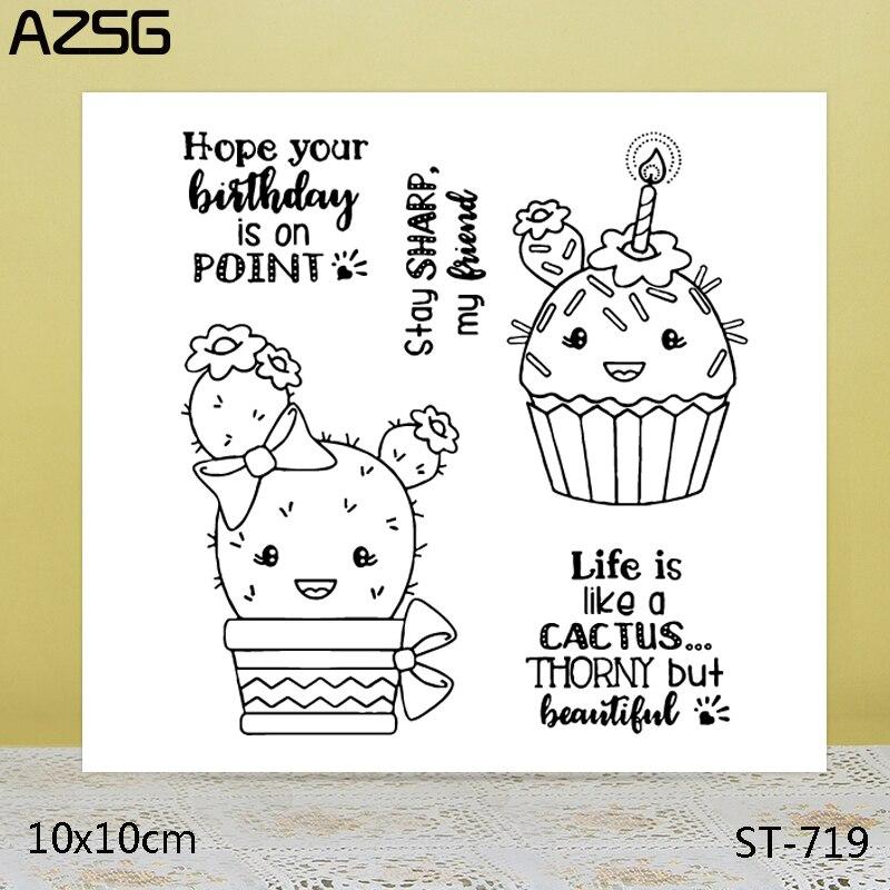 Sellos transparentes AZSG de Cactus bonitos/sellos para álbum de recortes DIY/fabricación de tarjetas/sello artesanal de silicona decorativo para álbum