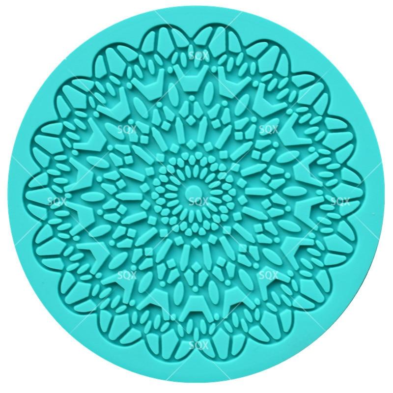 7 CM Fflower Padrão Oco Flor de Silicone Molde do Bolo Molde Rendas Molde Fondant de Decoração Do Bolo Moldes de Silicone Oco Rodada LS10