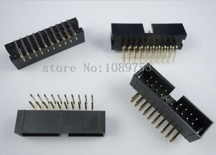 10 шт. 2,54 мм 2x10 20 Pin правый угол штырь Shrouded PCB Box header IDC коннектор