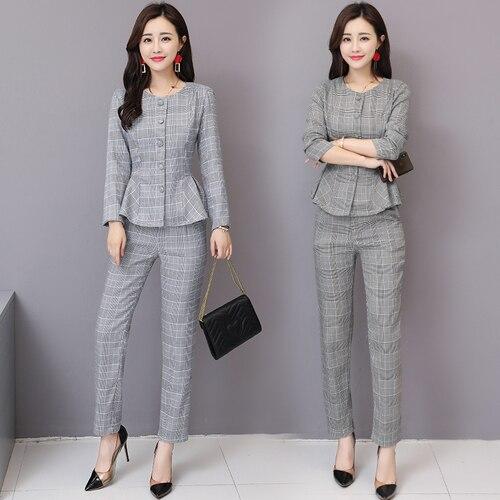Temperament Slim Was Thin Plaid Two Piece Set Top And Pants Elegant Fashion Ensemble Femme Survetement Ol Wild Women's Suit