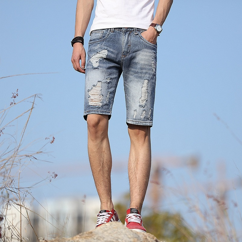 Fashion 2020 summer Casual Knee length shorts men Ripped Hole Distressed Destroy teenagers korean light blue short jeans